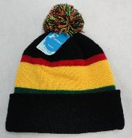 Double-Layer Knitted Hat with PomPom [Black/Red/Yellow/Green]